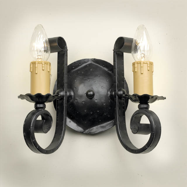 Gothic Wall Sconces: Gothic Wrought Iron Double Wall Sconce Medieval 14632