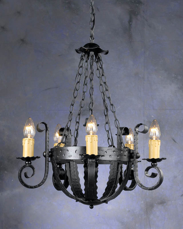 Gothic Wrought Iron 5 Light Chandelier Me val